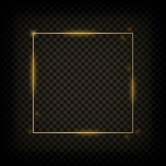 Goud gloeiend frame. gouden glanzende vierkante banner op transparante achtergrond. vector illustratie.