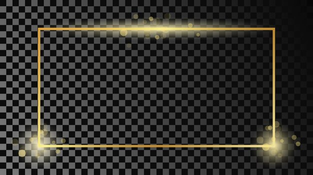 Goud gloeiend rechthoekig frame geïsoleerd op donkere transparante achtergrond. glanzend frame met gloeiende effecten. vector illustratie.