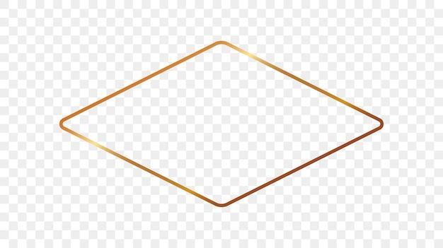 Goud gloeiende afgeronde ruit vorm frame geïsoleerd op transparante achtergrond. glanzend frame met gloeiende effecten. vector illustratie.