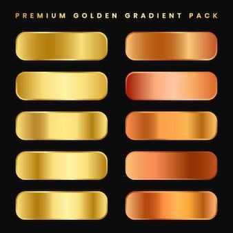 Goud metalen verloopcollectie en goudfolie textuur set