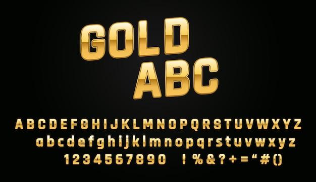 Goud metallic alfabet lettertype