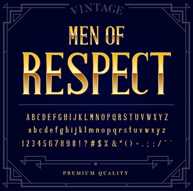 Goud metallic lettertypeset. letters, cijfers en speciale tekens