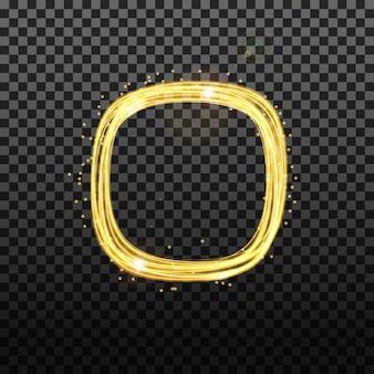 Goud neon rond frame met lichteffecten.