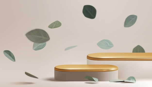 Goud pastel podium met vallende eucalyptusbladeren.