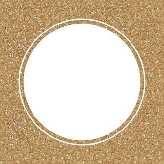 Goud schittert op een witte achtergrond. witte cirkelvorm voor tekst en ontwerp. confetti feestelijke sjabloon.