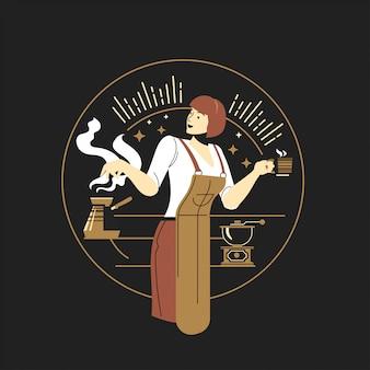 Goud van vrouwelijk baristakarakter met kopjes koffie in koffiebar