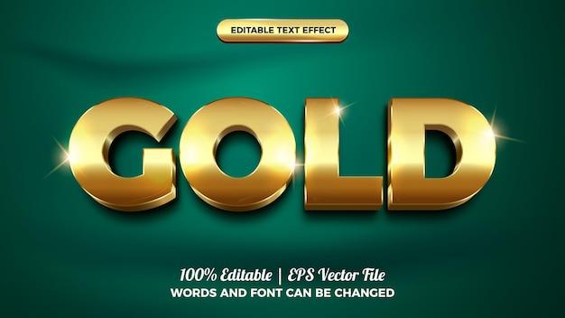 Goud vet glanzend 3d bewerkbare teksteffect sjabloonstijl