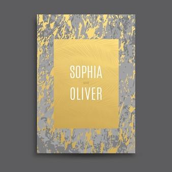 Goud, wit, grijs, marmeren abstracte achtergrond, kaart, uitnodiging met gouden palmbladeren en premium design. bruiloft, verjaardag, zomer, bladpatroonsjablonen, geometrisch frame