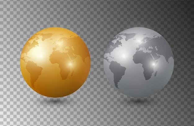 Goud zilver aarde. 3d earth planet-modellen. planeet geïsoleerd op transparante achtergrond