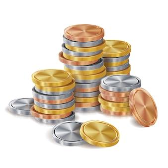 Goud, zilver, brons, koperen munten stapels.