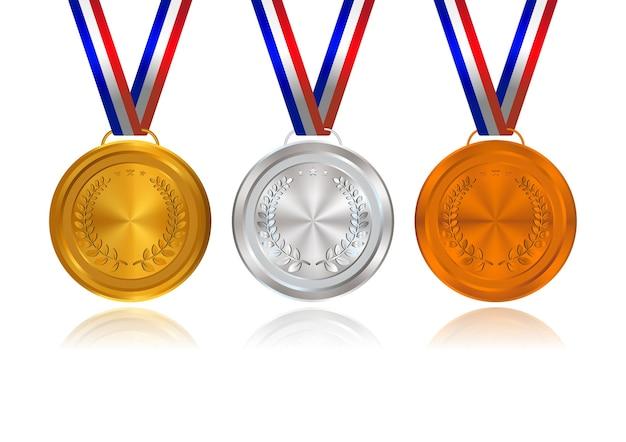 Goud, zilver, brons, prijsmedailles met linten