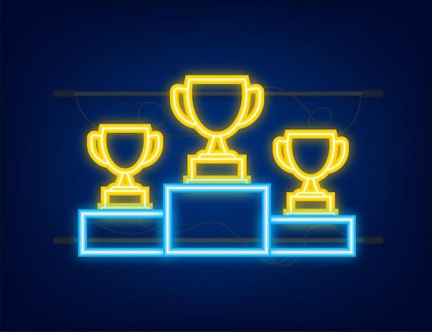 Goud zilver en brons trofee cup op blauw prijspodium zakelijke of sportieve prestaties