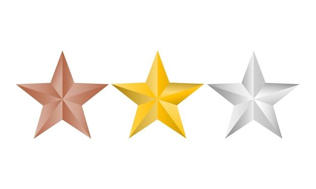 Goud, zilver en koper sterren logo geïsoleerd