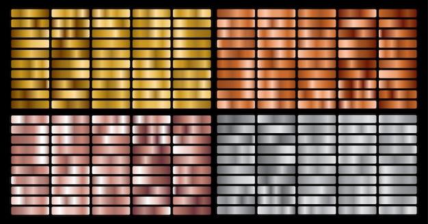 Goud, zilver, roze, bronzen metalen verloopcollectie en goudfolie textuur set.
