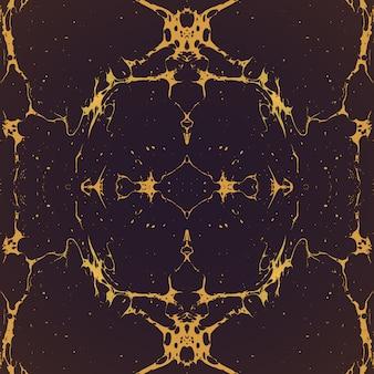 Goud zwart-wit gespiegeld hand getrokken ebru papier marmering vloeibare verf kunstwerk decoratie textuur achtergrond