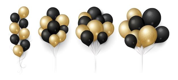 Goud zwarte ballonnen. glinsterende ballon bos, geïsoleerde vliegende feestelijke decoratie. realistische 3d verjaardag bruiloft verkoop of verjaardag elementen vector illustratie. geschenkballon helium om te vieren