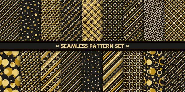 Goud zwarte naadloze patronen.