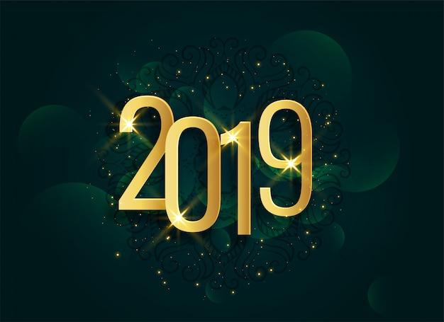 Gouden 2019 3d glanzende nieuwe jaarachtergrond