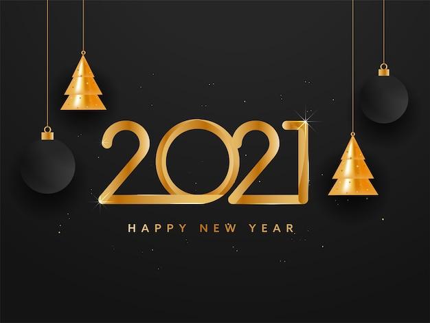 Gouden 2021 gelukkig nieuwjaar tekst met hangende glanzende kerstbomen en kerstballen op zwarte achtergrond.