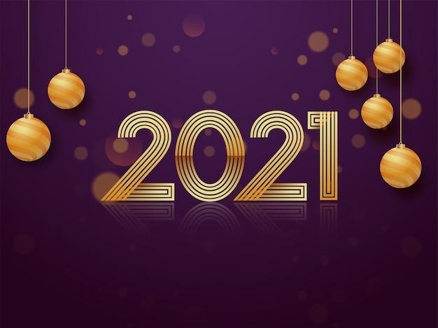 Gouden 2021-nummer met hangende kerstballen op paarse bokeh vervagen achtergrond