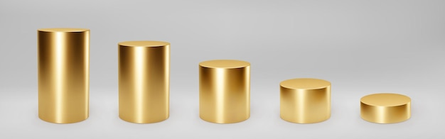 Gouden 3d cilinder set vooraanzicht en niveaus met perspectief geïsoleerd op grijs
