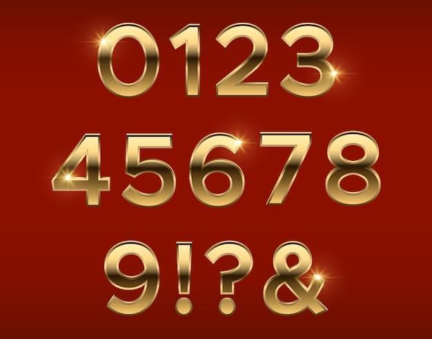 Gouden 3d-nummers Premium Vector