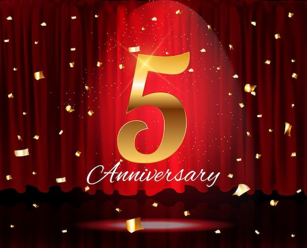 Gouden 5 jaar verjaardag sjabloon