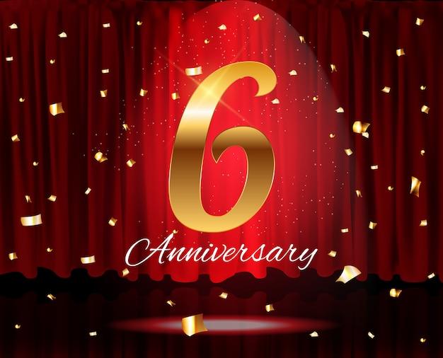 Gouden 6 jaar verjaardag sjabloon