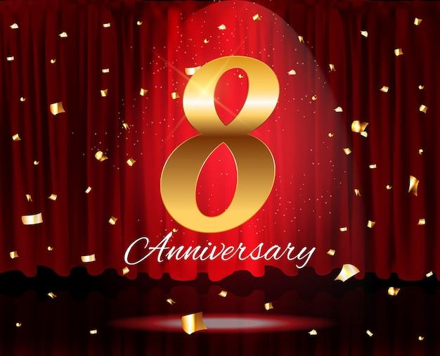 Gouden 8 jaar verjaardag sjabloon