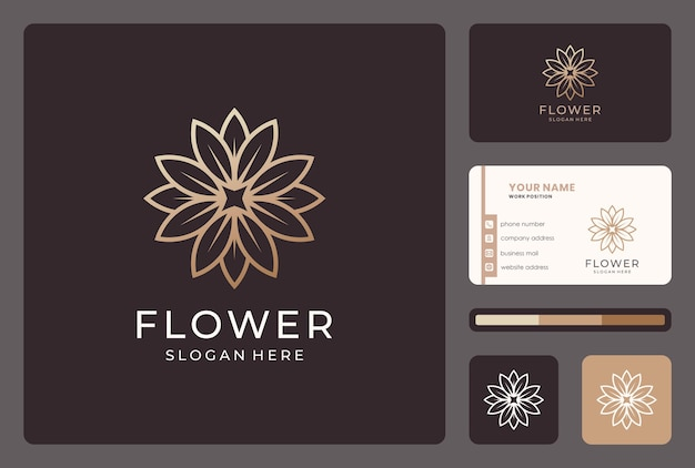 Gouden abstract lijn bloem logo ontwerp met visitekaartje.