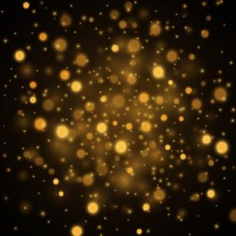Gouden abstracte bokehachtergrond. gouden sterrenstofachtergrond. vector illustratie