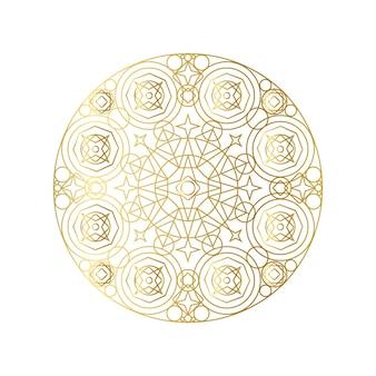 Gouden abstracte geometrische mandala overzicht vectorillustratie. psychedelisch patroon geïsoleerd op wit