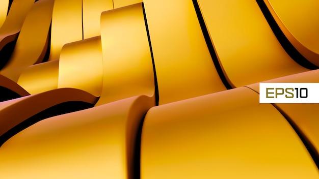 Gouden abstracte metalen achtergrond. futuristische 3d geeft illustratie terug. goud metalen design. stalen structuur. gele achtergrond. glanzend metaal.