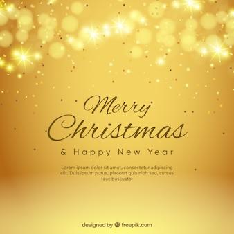Gouden achtergrond bokeh van vrolijke kerstmis