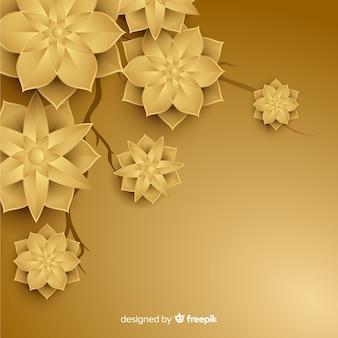 Gouden achtergrond met 3d bloemen