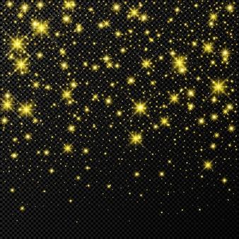 Gouden achtergrond met sterren en stof sparkles geïsoleerd op donkere transparante achtergrond. feestelijk magisch kerstlichteffect. vector illustratie.