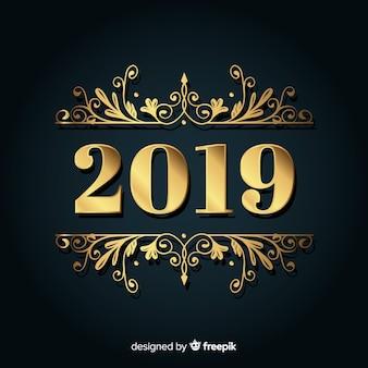 Gouden achtergrond van het nieuwe jaar 2019