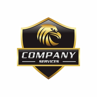Gouden adelaar in embleem logo