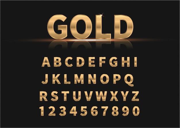 Gouden alfabet en cijfers.