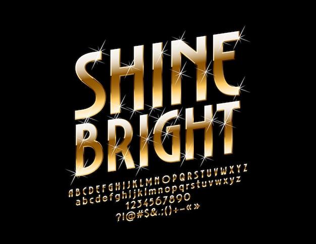 Gouden alfabet luxe heldere lettertype shine letters, cijfers en symbolen