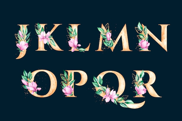 Gouden alfabet met elegant bloemenconcept