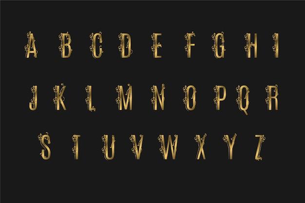 Gouden alfabet met elegante bloemen