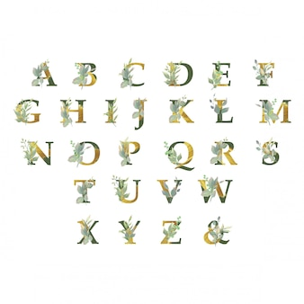 Gouden alfabetcollectie met bloemenornamenten