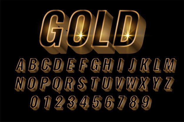 Gouden alfabetten instellen premium letters