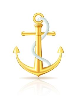Gouden anker met touw op witte achtergrond. vector illustratie