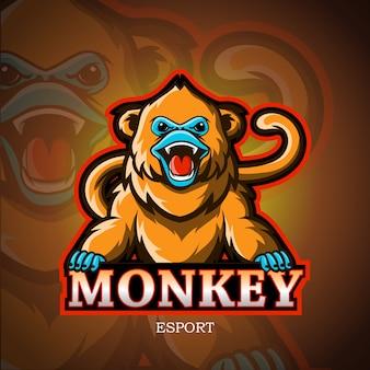 Gouden apen mascotte esport logo.