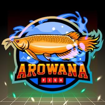 Gouden arowana-mascotte. esport logo ontwerp