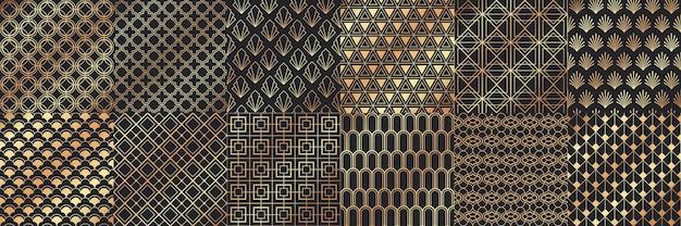 Gouden art deco naadloze patronen.