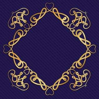 Gouden art decokader met ornament op blauwe achtergrond