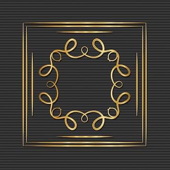 Gouden art decokader met ornament op grijze achtergrond